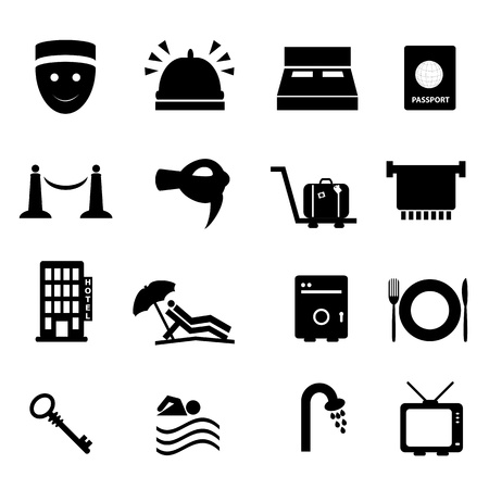 Hôtel et jeu d'icônes de voyage articles Banque d'images - 9885209
