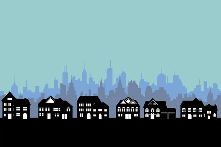 Suburban houses with big city background Vector