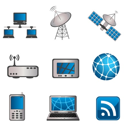 Communication, technology and computer icon set Çizim