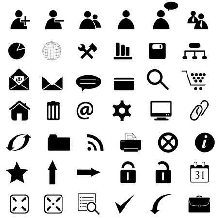 Several business icons in black