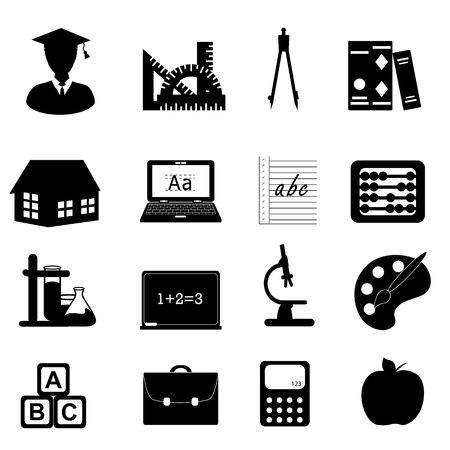 Education and school related symbols icon set Illusztráció