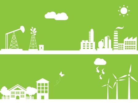 Cities using clean alternative energy sources Vector