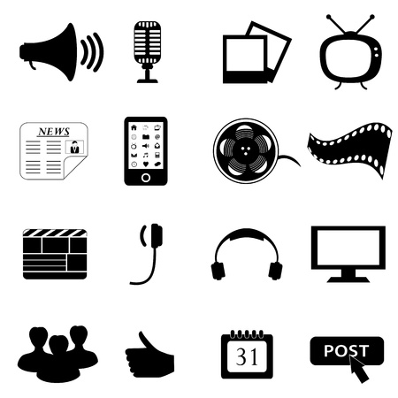 Media negra o conjunto de iconos de multimedia Ilustración de vector