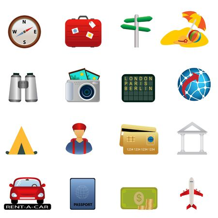 Travel and tourism related icon set Vector