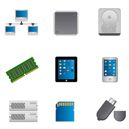 hard drive: Computer parts and computers icon set Illustration