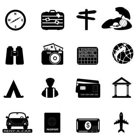 Travel and tourism related icon set Vectores