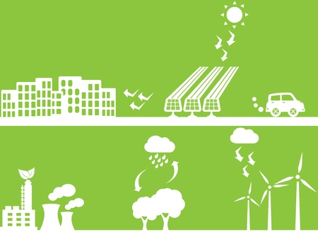 City using renewable energy sources Stock Vector - 10120313