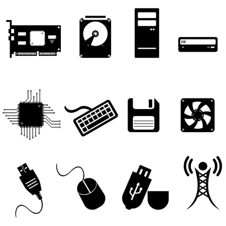 processors: Computer and technology icon set