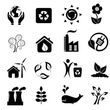 Eco and environment icon set Illustration