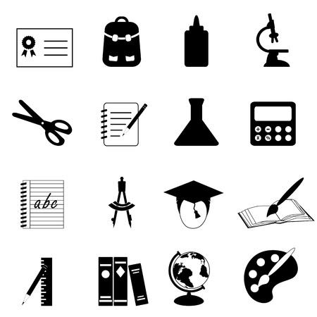 resistol: Conjunto de iconos de escuela y educación Vectores