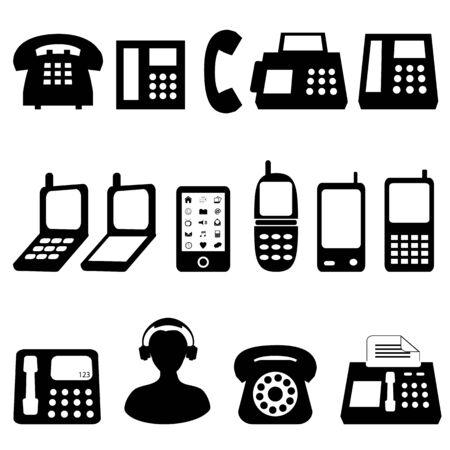 様々 な種類の黒い電話機