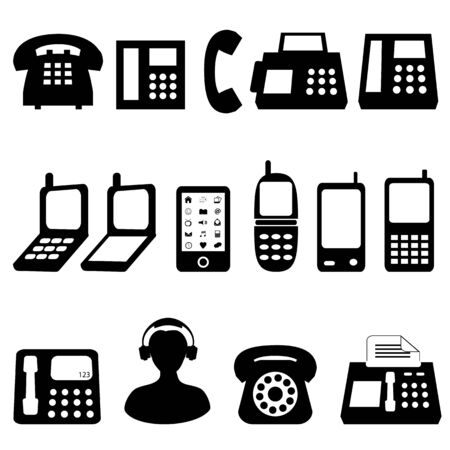 customer service phone: Various types of telephones in black