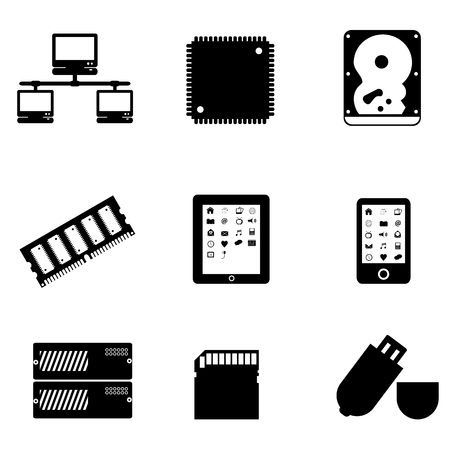Computer parts and peripheral devices Иллюстрация