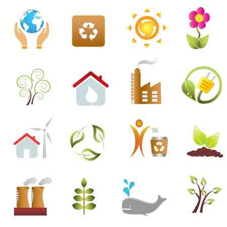 エコと環境アイコンを設定  イラスト・ベクター素材