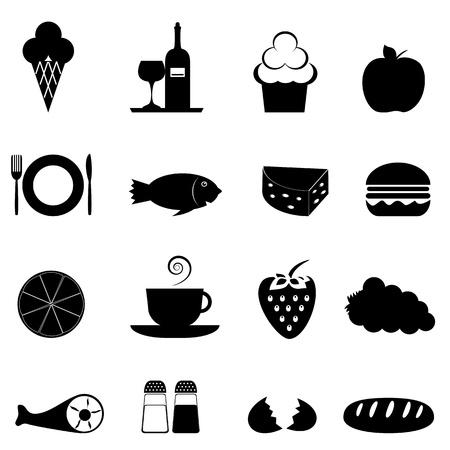 pane e vino: Icona di cibo impostato in nero Vettoriali