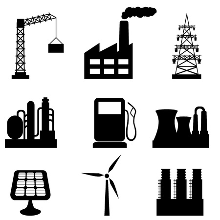 Various industrial buildings and tools