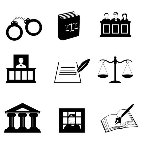 Justitie, recht en juridische icon set Stock Illustratie