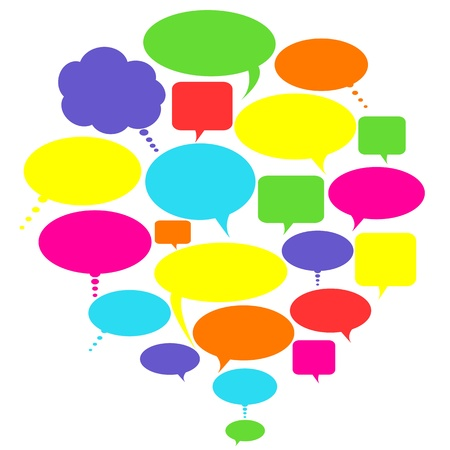 chat: Various colorful talk, thought and speech bubbles