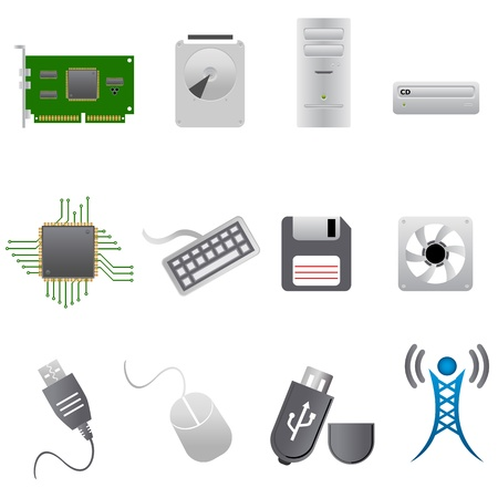 Computer parts, hardware and peripherals Illustration