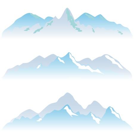 высокогорный: Снежные вершины горы зимой Иллюстрация