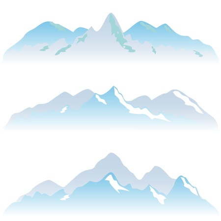 Snowy mountain peaks in winter Stock Vector - 10354982