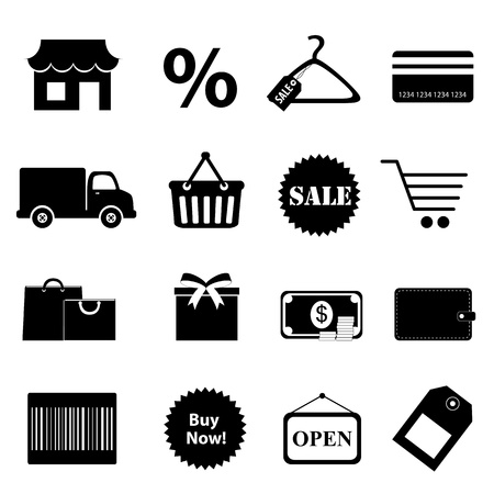 valet: Shopping related objects icon set