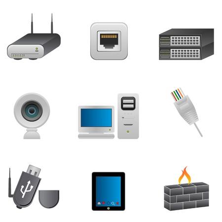 Computer en netwerk onderdelen en apparaten Stockfoto - 10417057