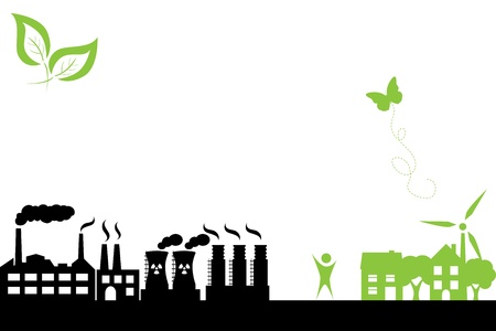 industry: Green town with clean energy and industrial buildings