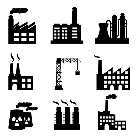 industrial icon: Industrial buildings on white background