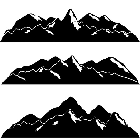 Mountain with snow covered tops Stock Illustratie