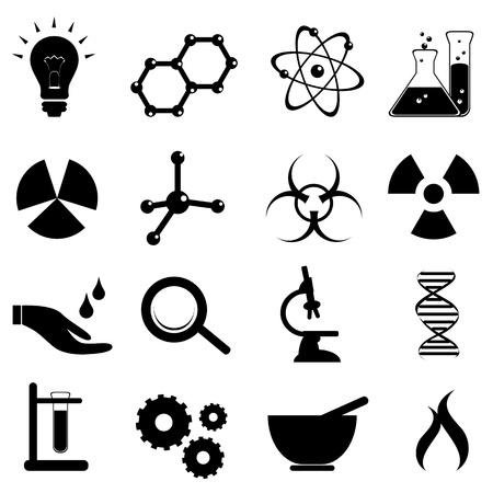 Wetenschap icon set in het zwart Stock Illustratie