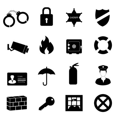 Safety and security icon set