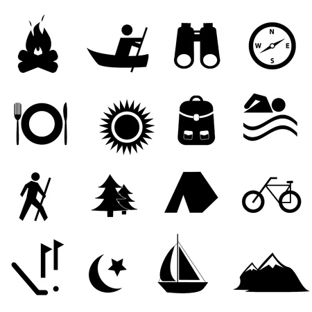 lägereld: Fritid, sport och rekreation, ikon, sätta Illustration