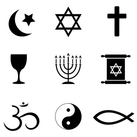 世界のアイコンの周りの宗教的なシンボルを設定します。  イラスト・ベクター素材