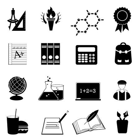 onderwijs: Terug naar school en het onderwijs iconen Stock Illustratie