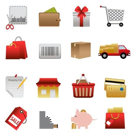 shopping cart icon: Shopping symbols icon set on white