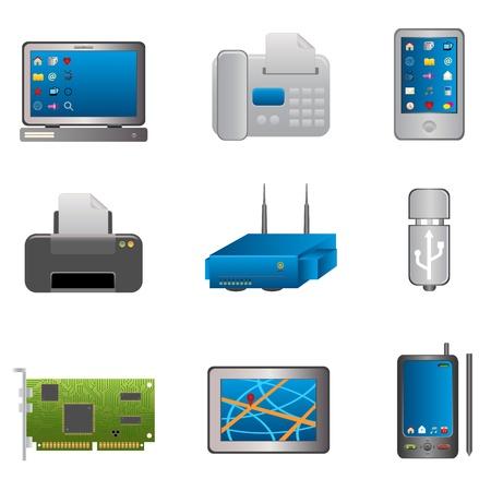 Computer en technologie objecten op wit Stock Illustratie
