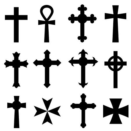 Verschillende christelijke kruizen op wit Stock Illustratie