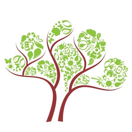 Green tree made of eco symbols 일러스트