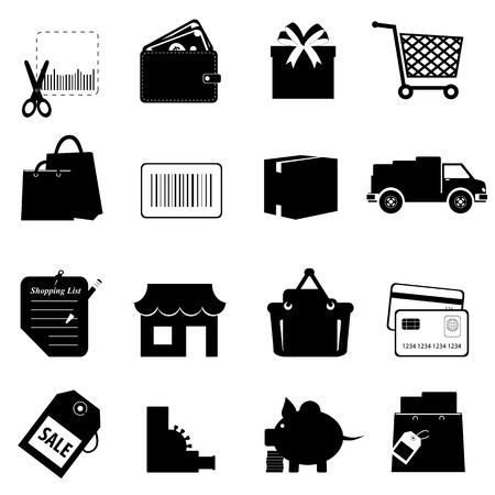Icono de símbolos de compras establecido en blanco Ilustración de vector