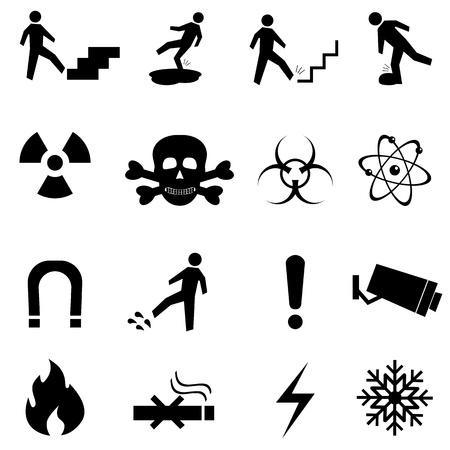 radioattivo: Attenzione, attenzione e pericolo segni icon set Vettoriali