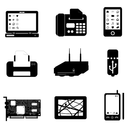 Computer and technology objects on white Vector