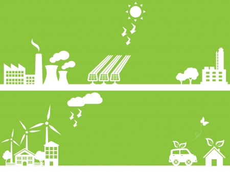 sustainable development: Eco friendly city and industry Illustration