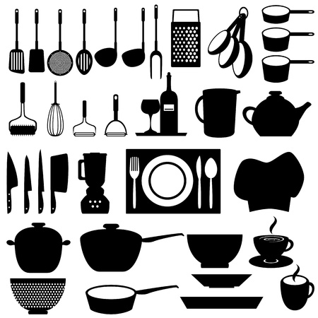 Kitchen and cooking tools utensils Vector