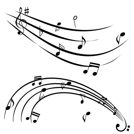 treble clef: Music notes on white background