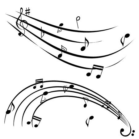 pentagrama musical: Notas de la música sobre fondo blanco