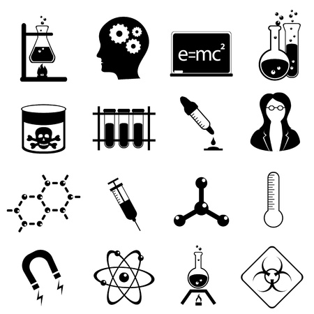 Chemistry and medical science icon set in black Çizim