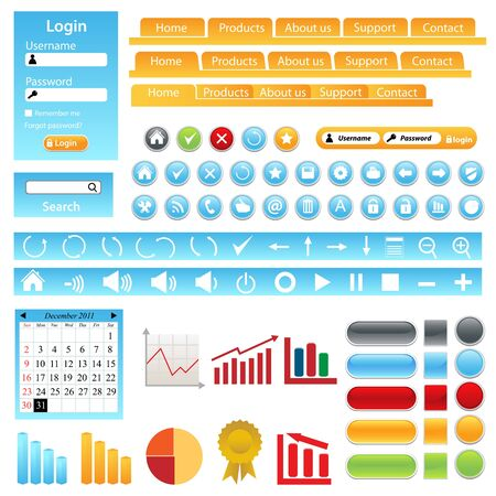 Web site design elements, buttons, boxes and icons Иллюстрация