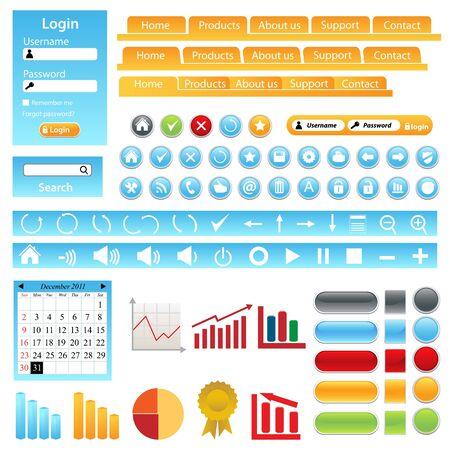 web site design: Web site design elements, buttons, boxes and icons Illustration