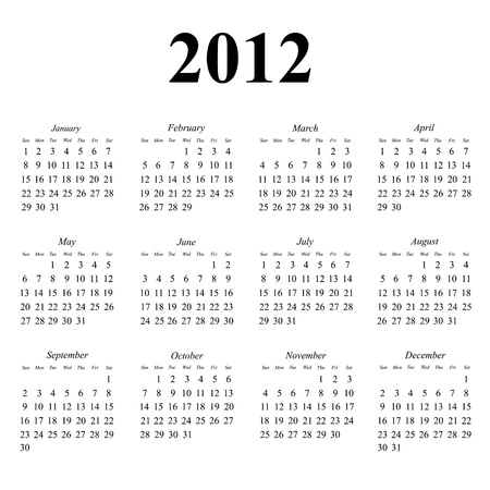 2012 calendar with simple clean layout
